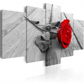 Tavla - Rose on Wood (5 Parts) Wide Red