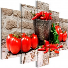 Tavla - Red Vegetables (5 Parts) Brick Wide