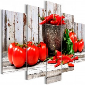 Tavla - Red Vegetables (5 Parts) Wood Wide