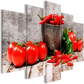 Tavla - Red Vegetables (5 Parts) Concrete Wide