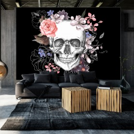 Fototapet - Skull and Flowers