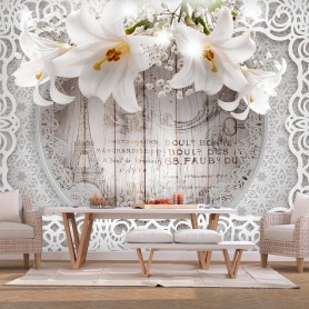 Fototapet - Lilies and Wooden Background